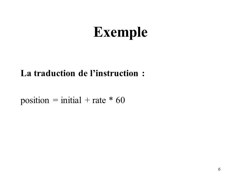 Exemple La traduction de l'instruction :