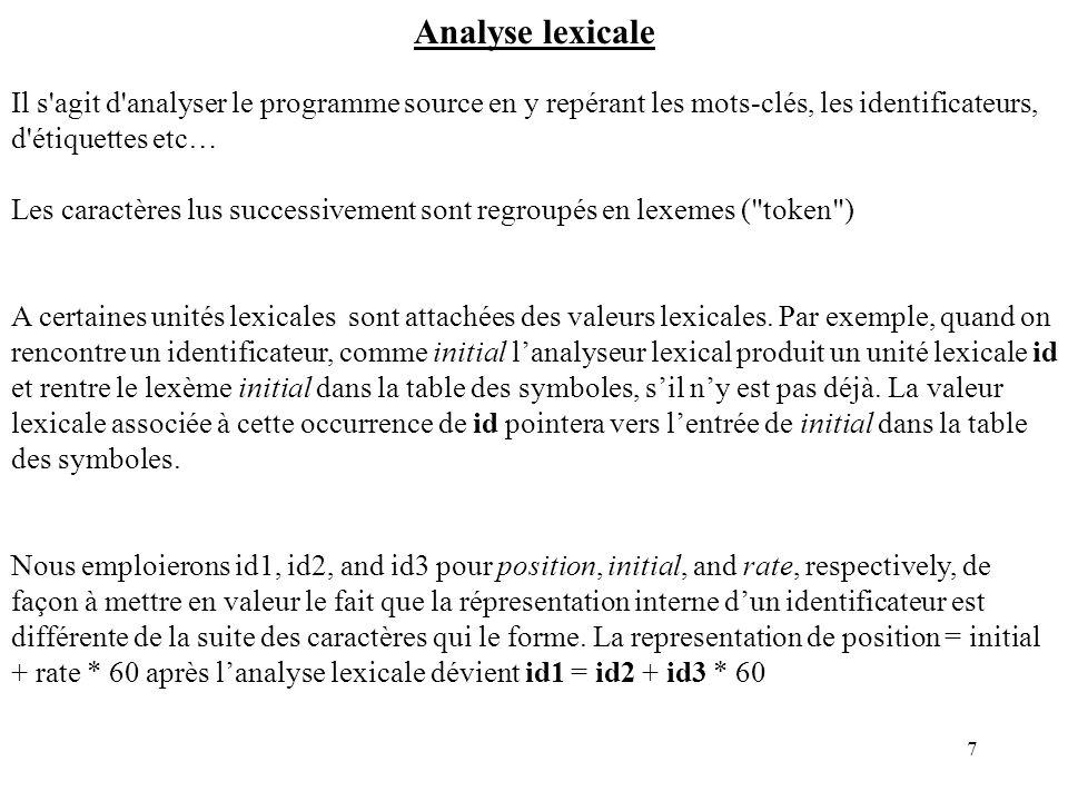 Analyse lexicale Il s agit d analyser le programme source en y repérant les mots-clés, les identificateurs, d étiquettes etc…