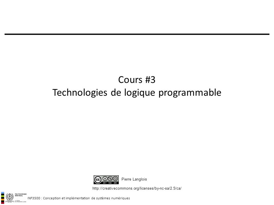 Cours #3 Technologies de logique programmable