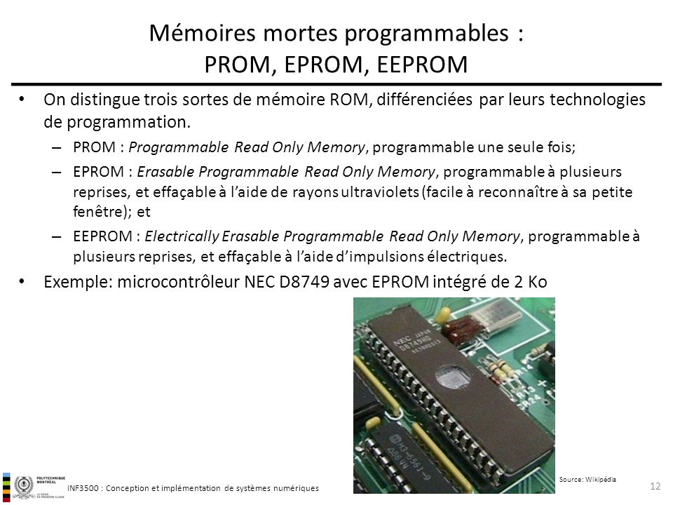 Mémoires mortes programmables : PROM, EPROM, EEPROM