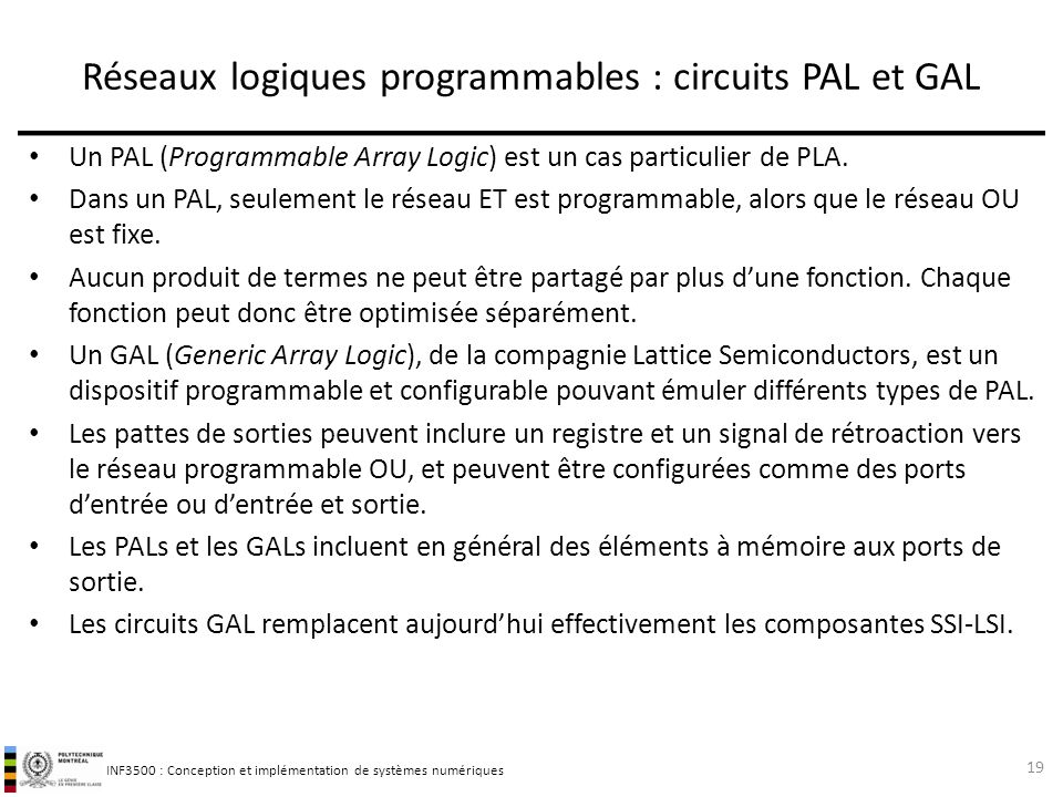 Réseaux logiques programmables : circuits PAL et GAL
