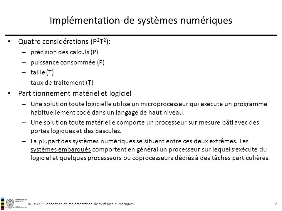 Implémentation de systèmes numériques