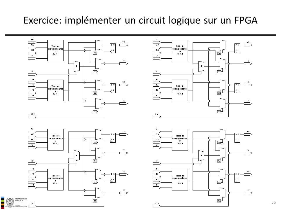 Exercice: implémenter un circuit logique sur un FPGA