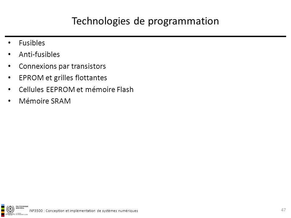 Technologies de programmation