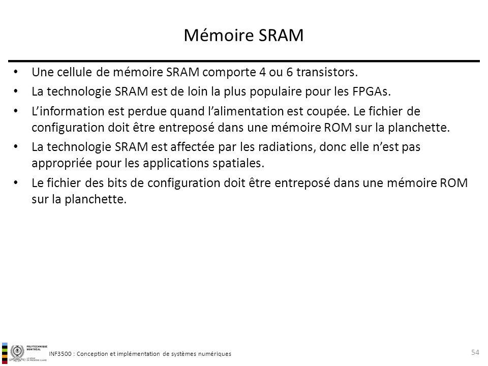 Mémoire SRAM Une cellule de mémoire SRAM comporte 4 ou 6 transistors.