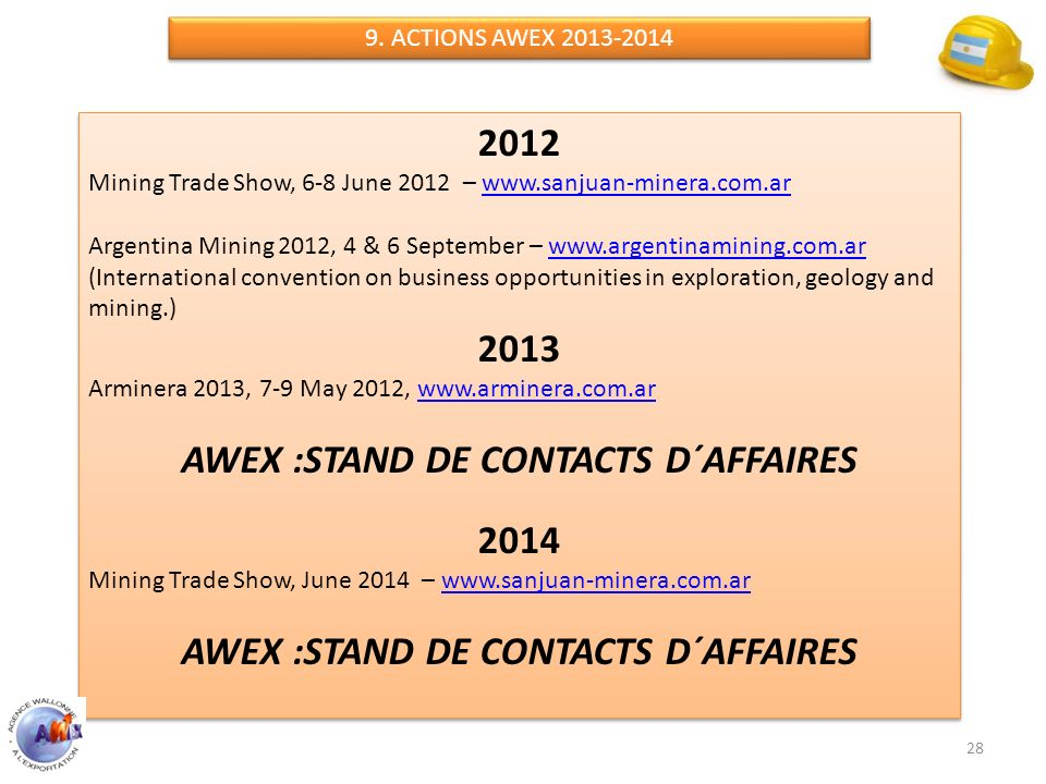 AWEX :STAND DE CONTACTS D´AFFAIRES