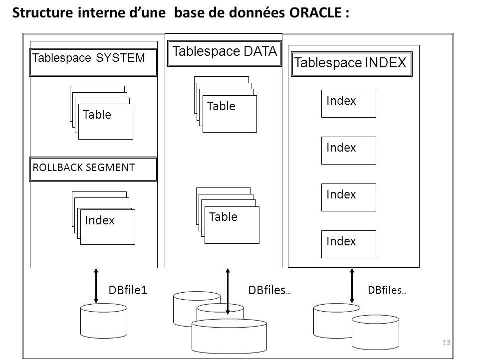 Structure interne d'une base de données ORACLE :