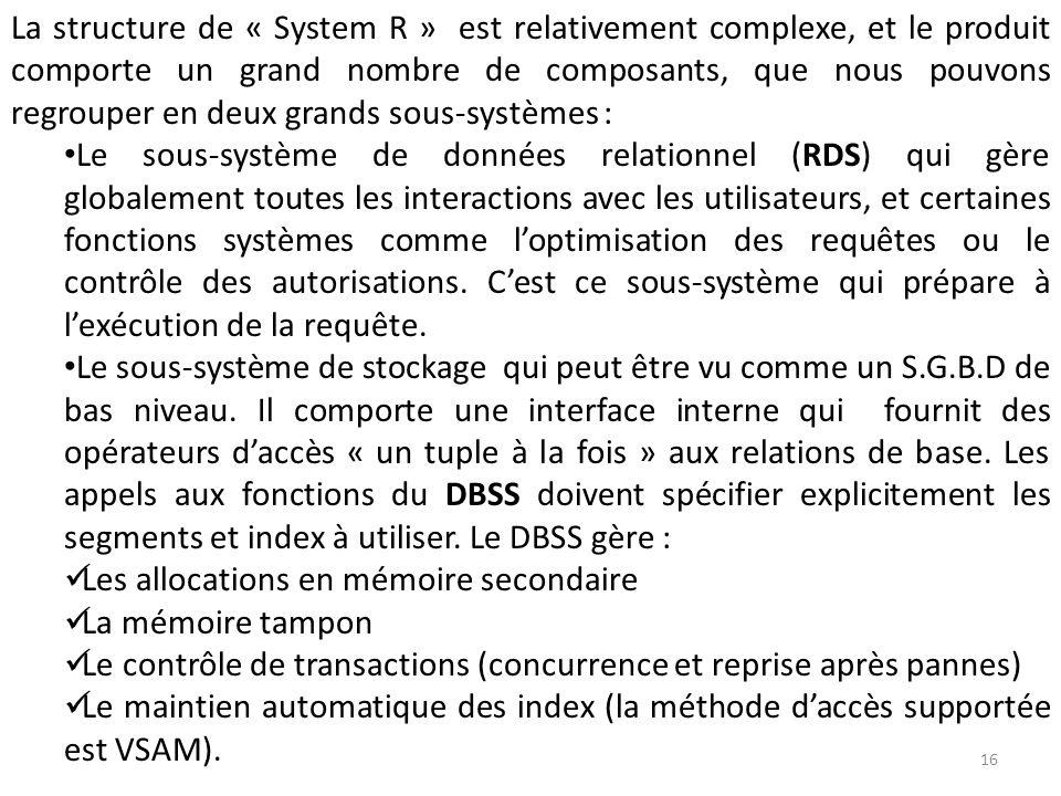 La structure de « System R » est relativement complexe, et le produit comporte un grand nombre de composants, que nous pouvons regrouper en deux grands sous-systèmes :