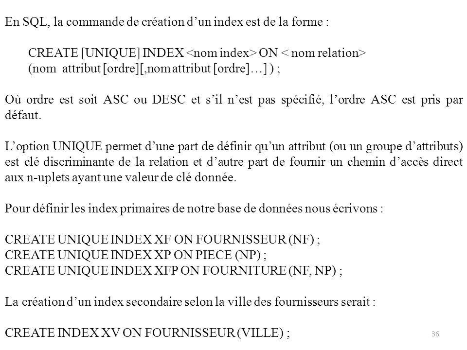 En SQL, la commande de création d'un index est de la forme :