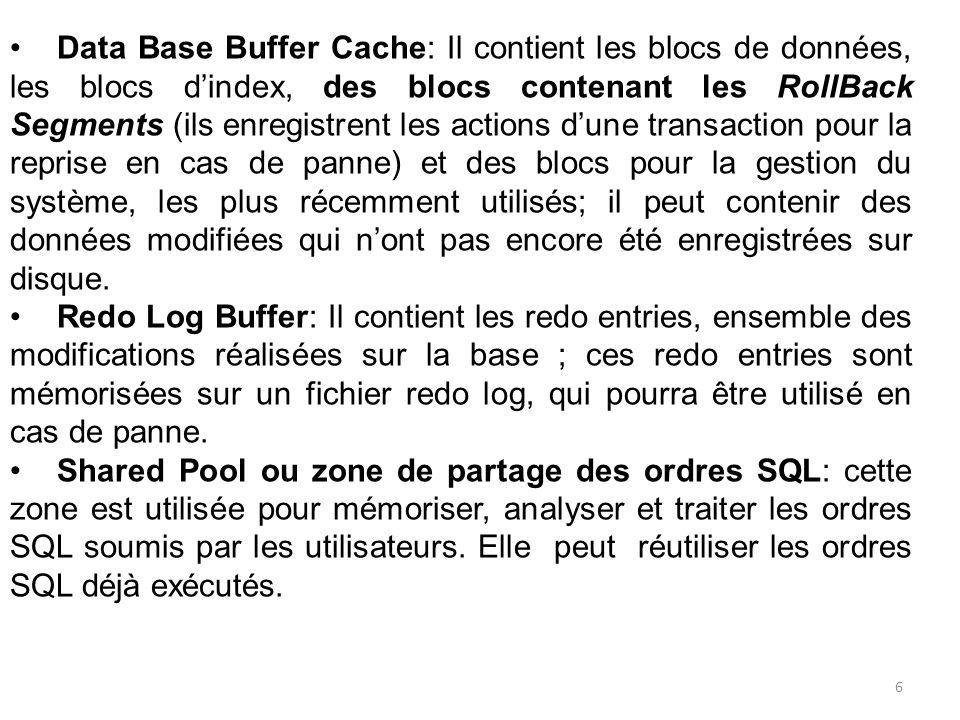Data Base Buffer Cache: Il contient les blocs de données, les blocs d'index, des blocs contenant les RollBack Segments (ils enregistrent les actions d'une transaction pour la reprise en cas de panne) et des blocs pour la gestion du système, les plus récemment utilisés; il peut contenir des données modifiées qui n'ont pas encore été enregistrées sur disque.