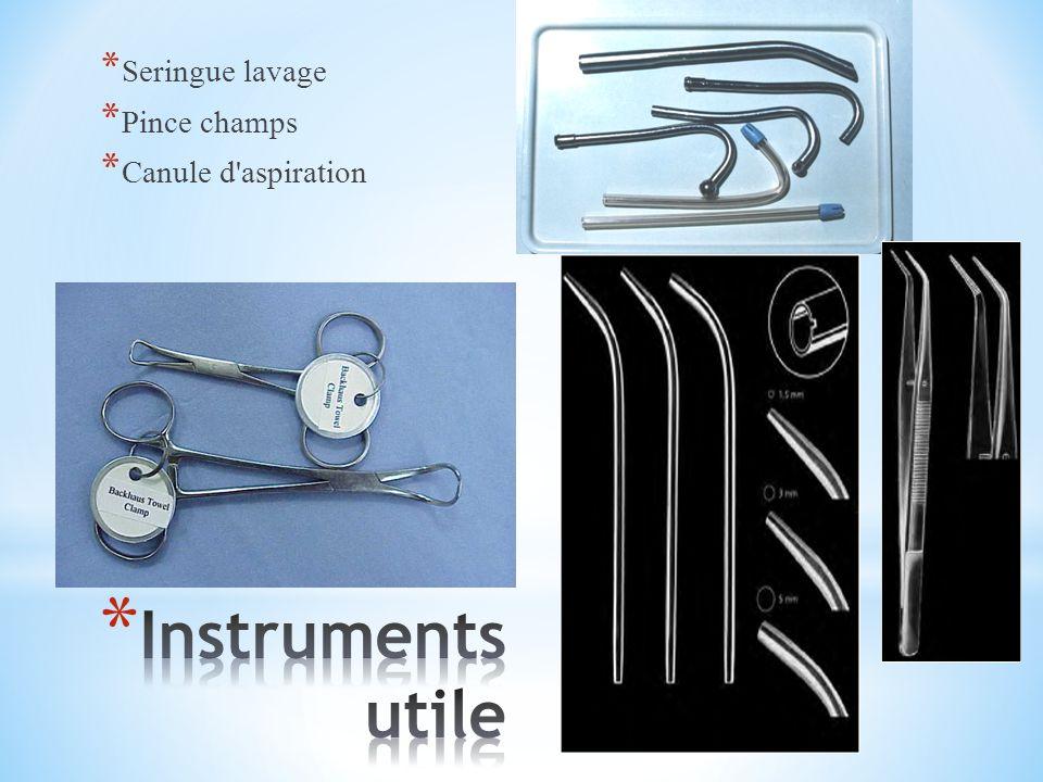 Seringue lavage Pince champs Canule d aspiration Instruments utile