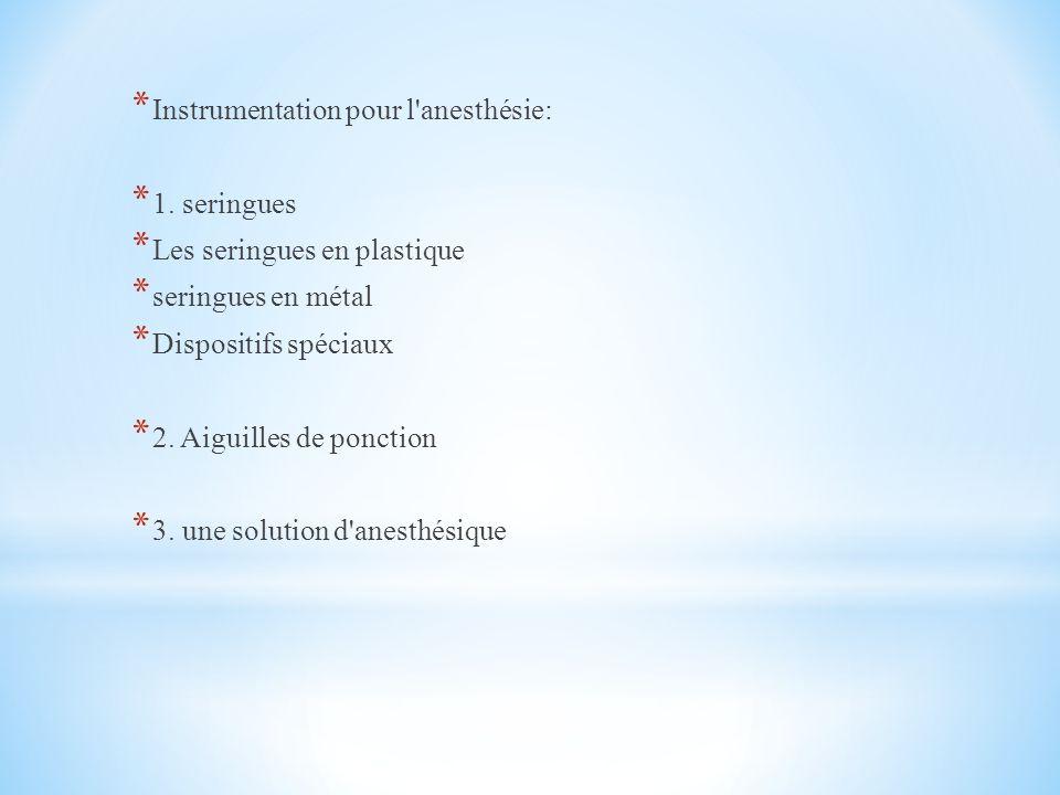 Instrumentation pour l anesthésie: