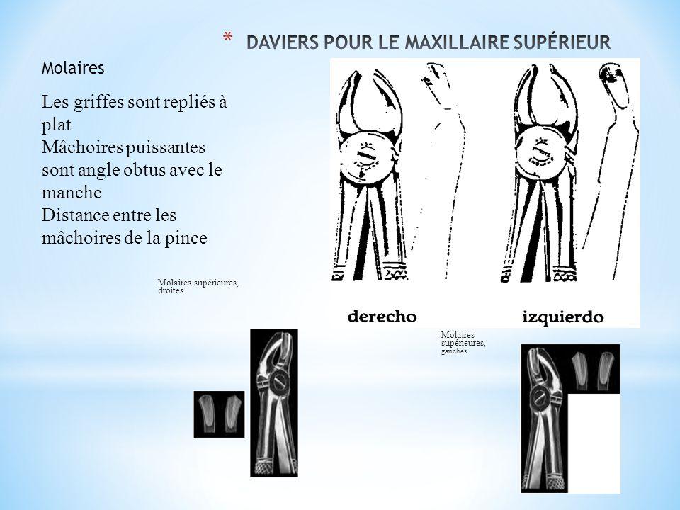 DAVIERS POUR LE MAXILLAIRE SUPÉRIEUR