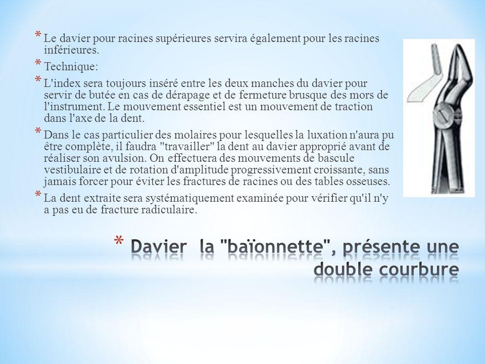 Davier la baïonnette , présente une double courbure