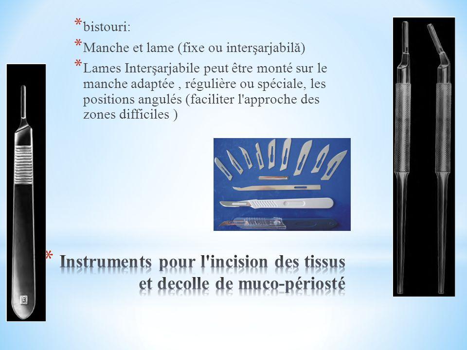 Instruments pour l incision des tissus et decolle de muco-périosté