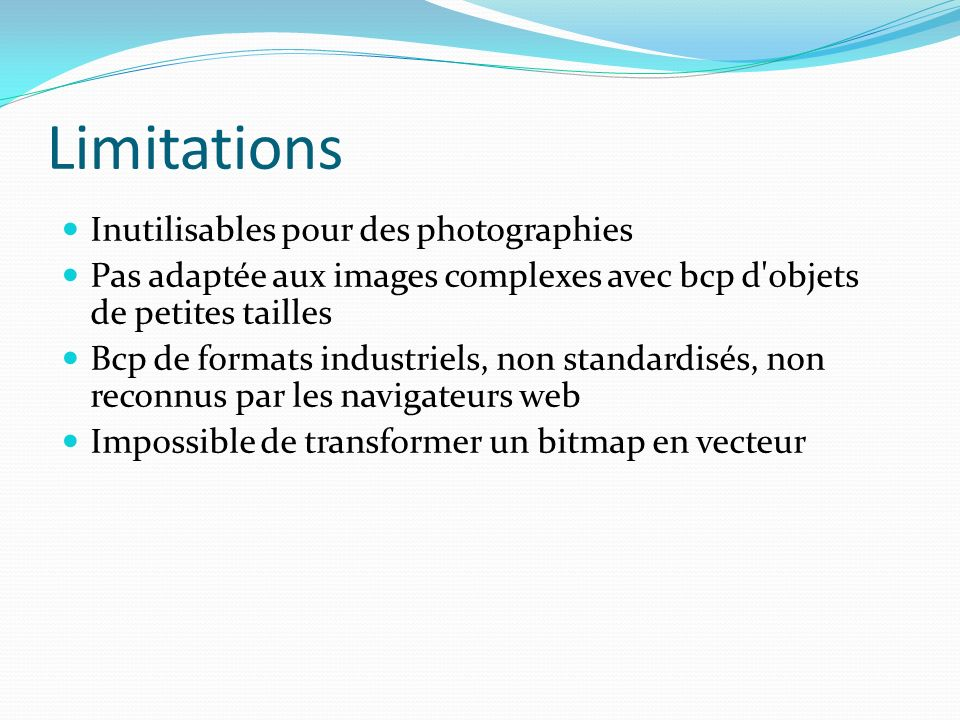 Limitations Inutilisables pour des photographies
