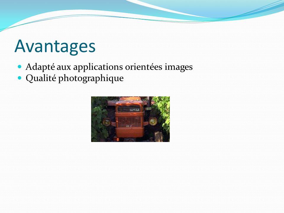 Avantages Adapté aux applications orientées images