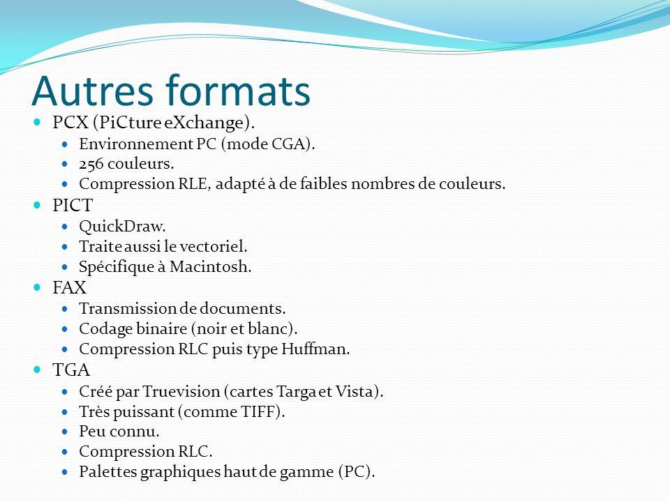 Autres formats PCX (PiCture eXchange). PICT FAX TGA