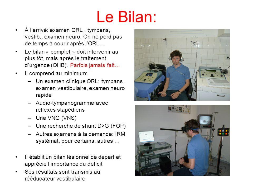 Le Bilan: À l'arrivé: examen ORL , tympans, vestib., examen neuro. On ne perd pas de temps à courir après l'ORL…