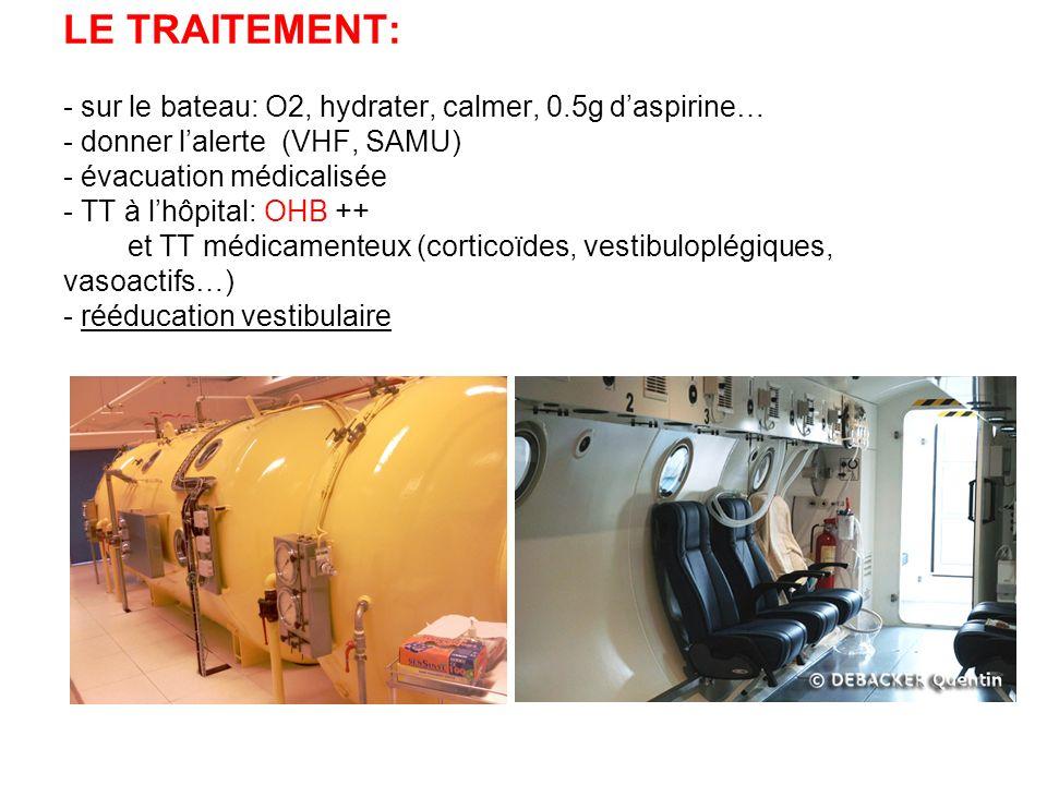 LE TRAITEMENT: - sur le bateau: O2, hydrater, calmer, 0