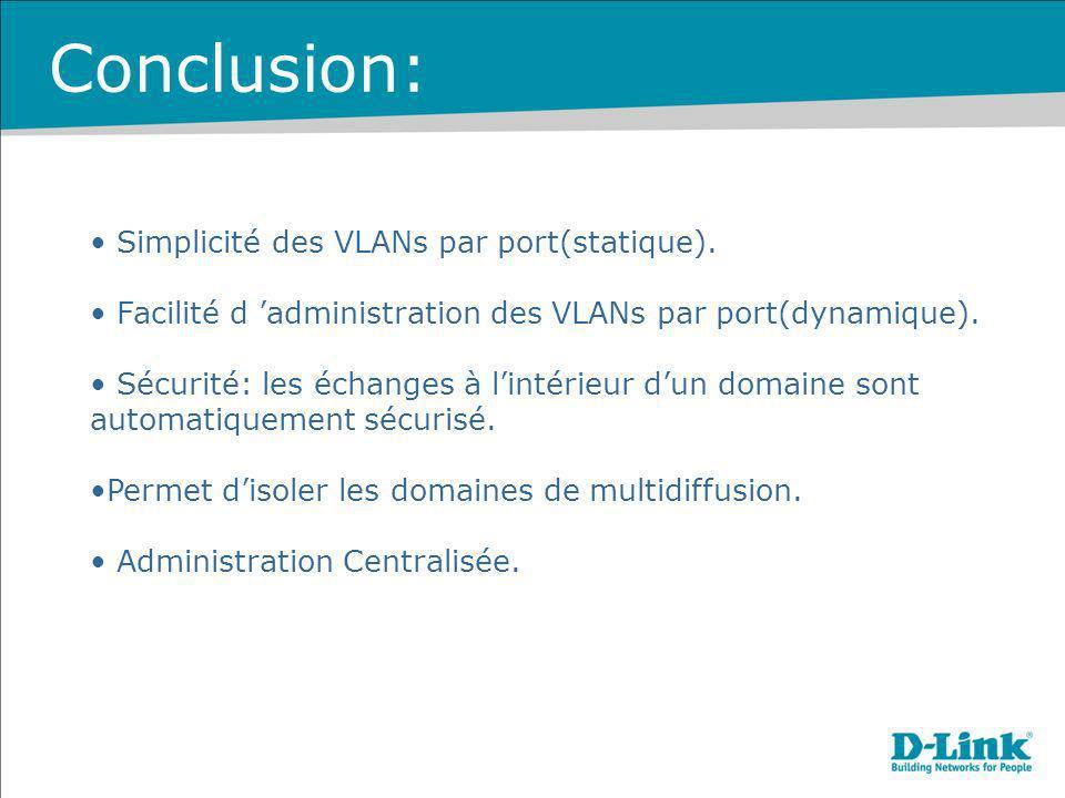 Conclusion: Simplicité des VLANs par port(statique).