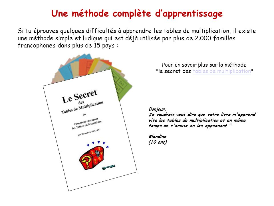 Les tables de multiplication ppt video online t l charger - Methode pour apprendre les tables de multiplication ...