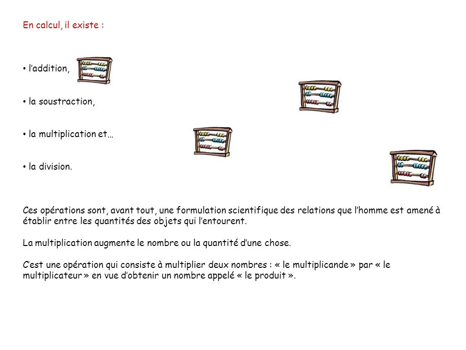 En calcul, il existe : l'addition, la soustraction, la multiplication et… la division.