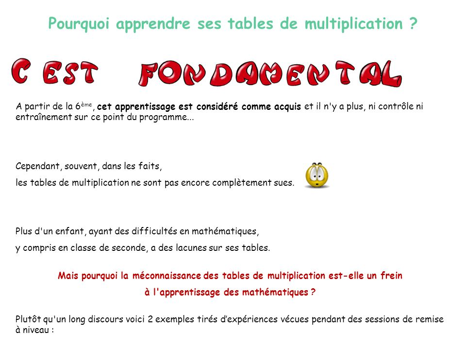 Les tables de multiplication ppt video online t l charger - Apprendre les tables de multiplication en s amusant ...