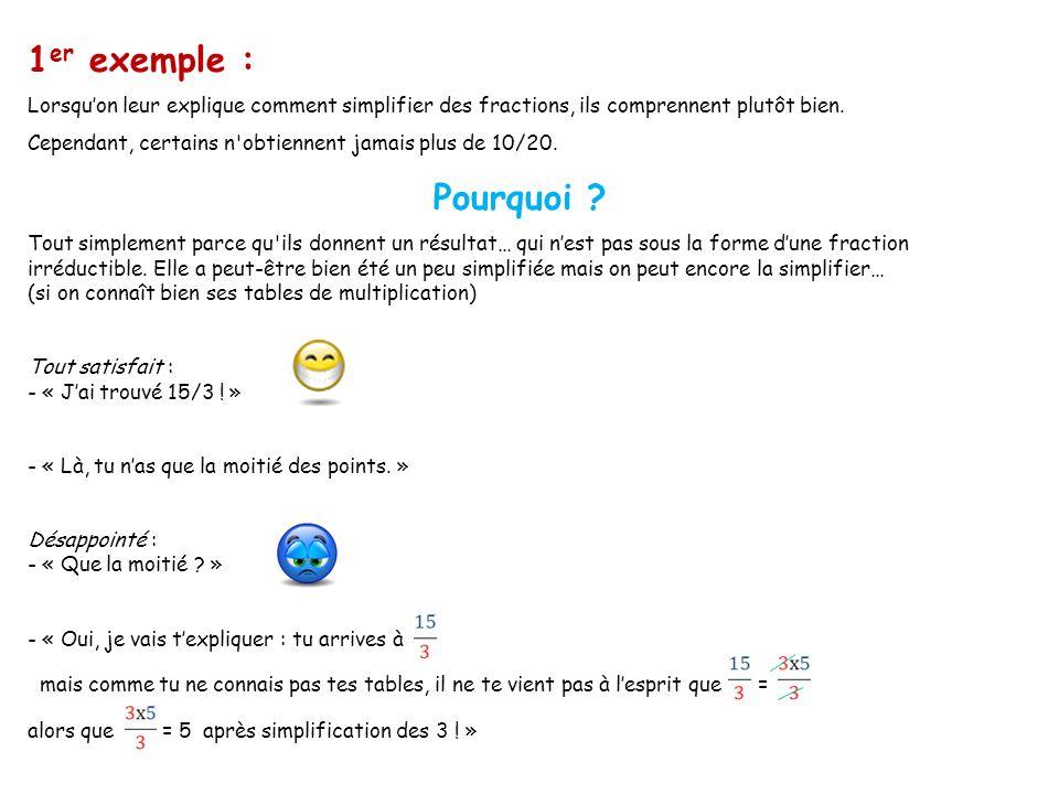 1er exemple : Lorsqu'on leur explique comment simplifier des fractions, ils comprennent plutôt bien.