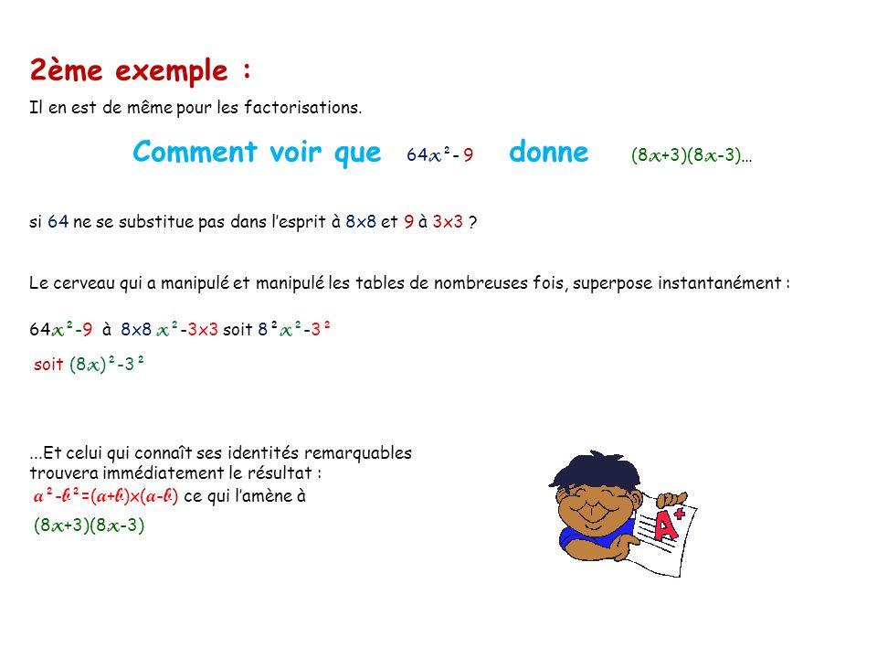 Comment voir que 64x²- 9 donne (8x+3)(8x-3)…