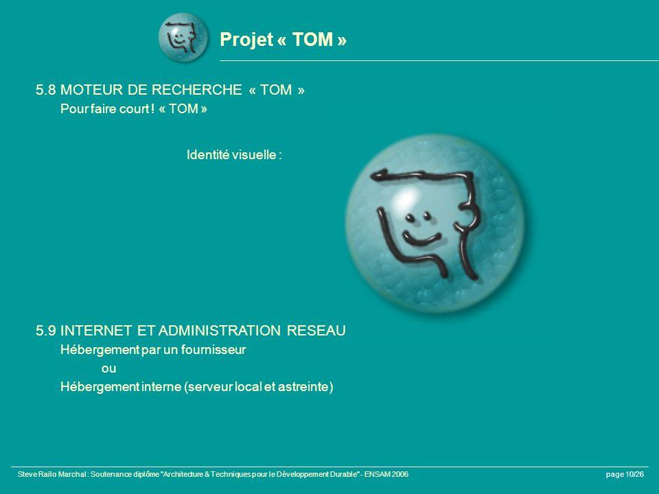 Projet « TOM » 5.8 MOTEUR DE RECHERCHE « TOM »
