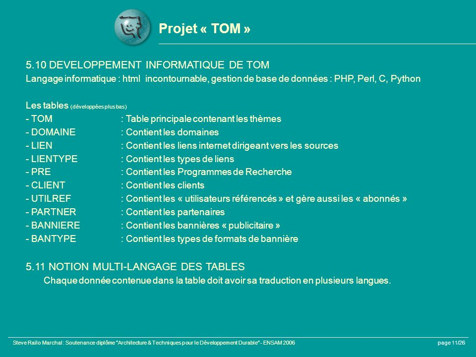 Projet « TOM » 5.10 DEVELOPPEMENT INFORMATIQUE DE TOM