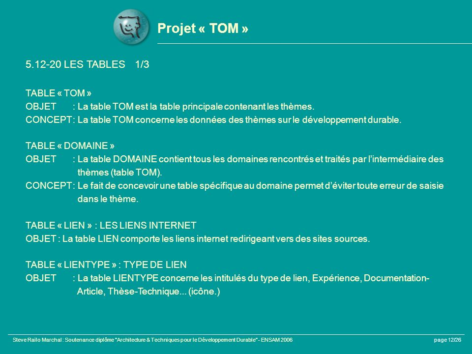 Projet « TOM » 5.12-20 LES TABLES 1/3 TABLE « TOM »