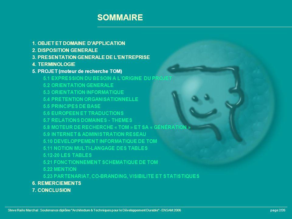 SOMMAIRE 1. OBJET ET DOMAINE D'APPLICATION 2. DISPOSITION GENERALE