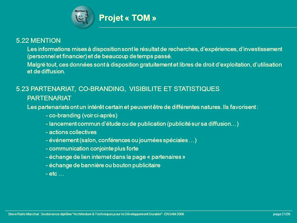 Projet « TOM » 5.22 MENTION.