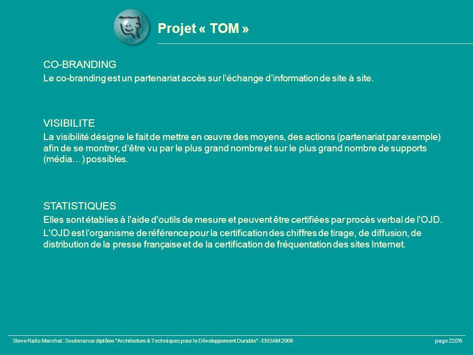 Projet « TOM » CO-BRANDING VISIBILITE STATISTIQUES