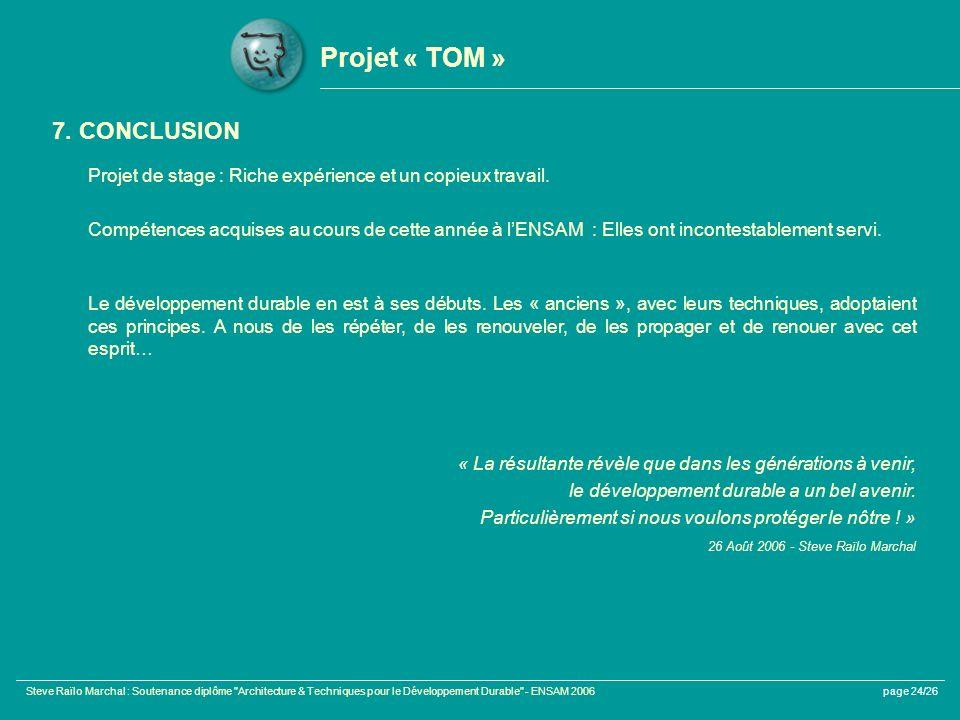 Projet « TOM » 7. CONCLUSION