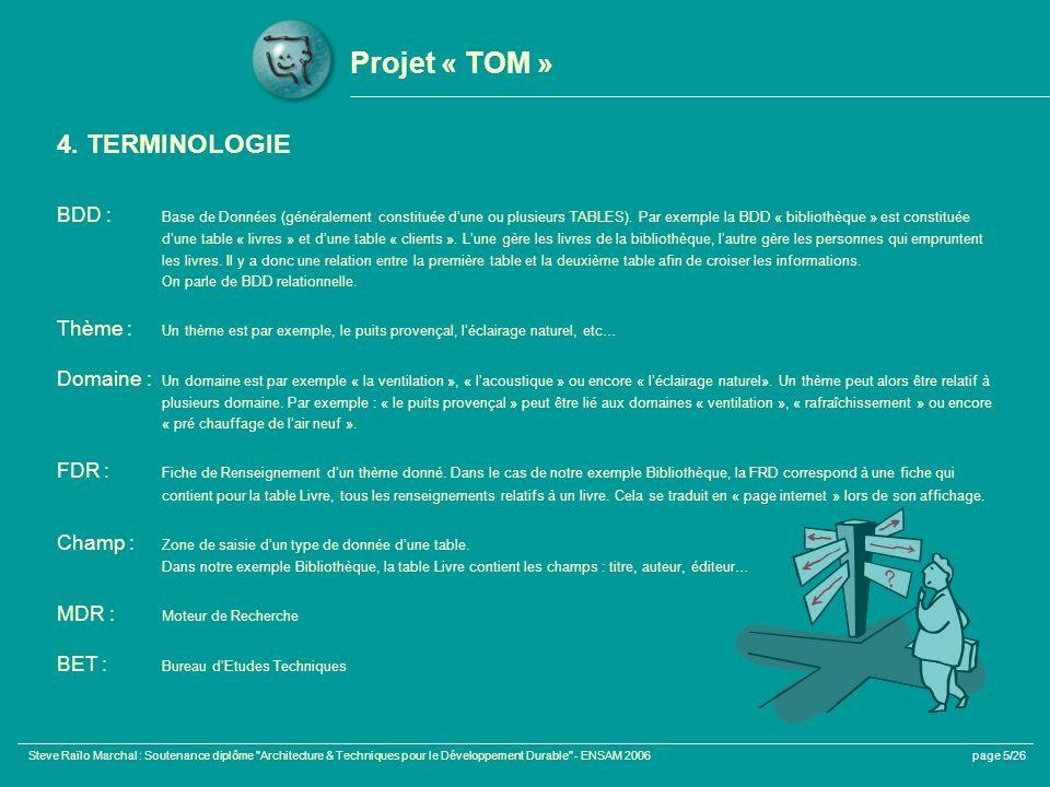 Projet « TOM » 4. TERMINOLOGIE