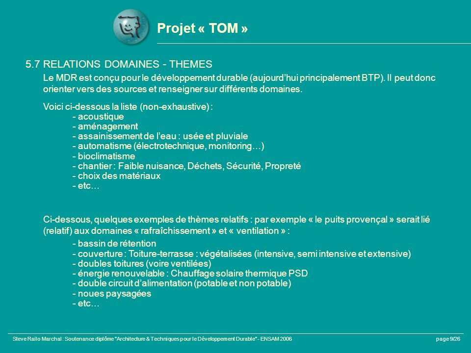 Projet « TOM » 5.7 RELATIONS DOMAINES - THEMES