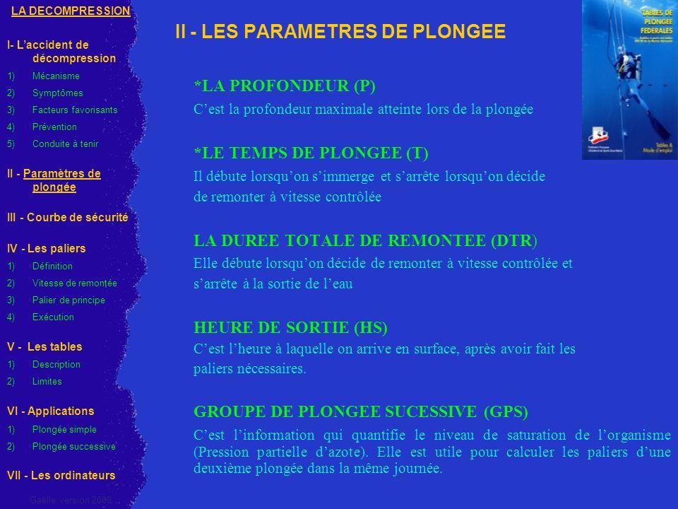 II - LES PARAMETRES DE PLONGEE