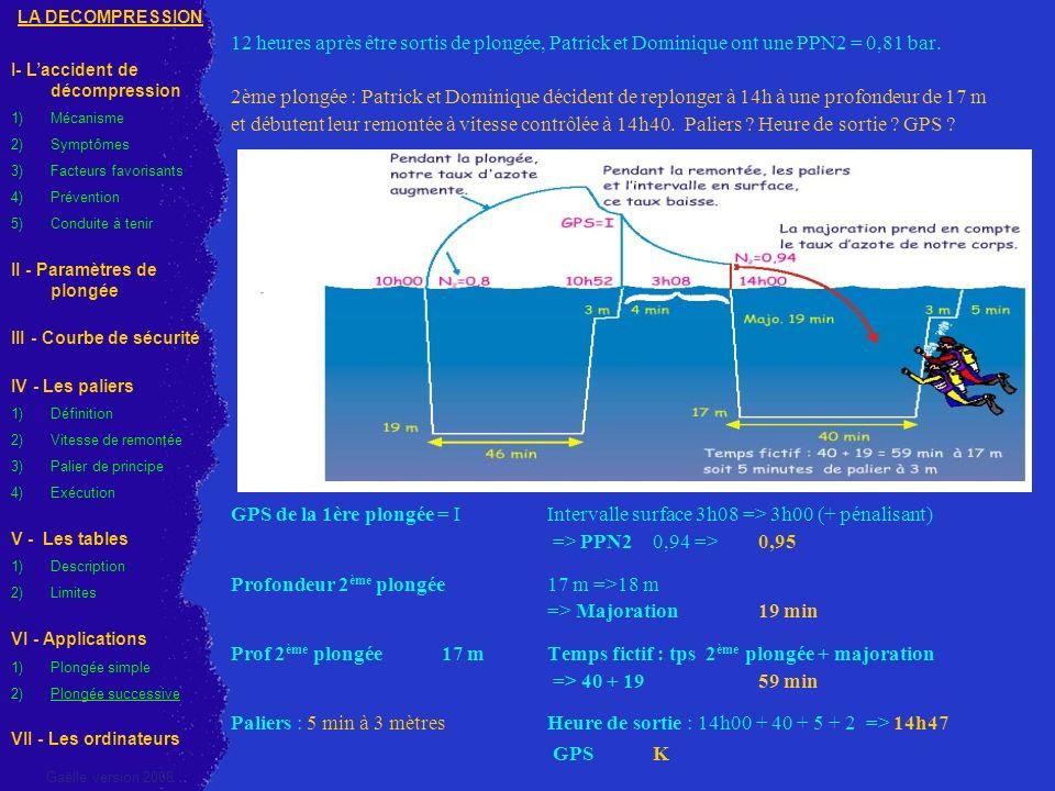 Profondeur 2ème plongée 17 m =>18 m => Majoration 19 min