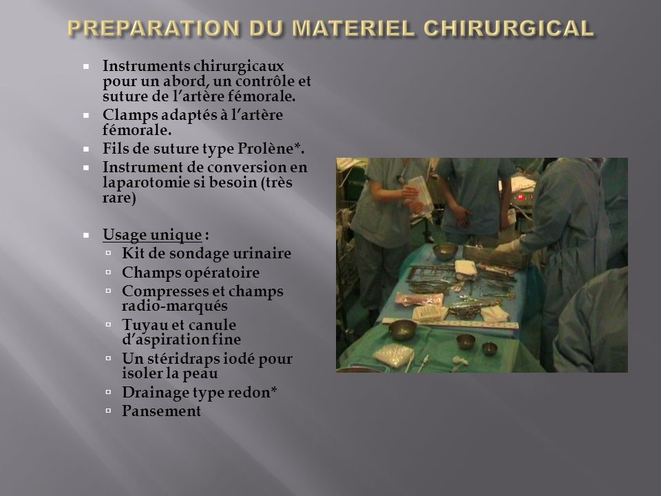 PREPARATION DU MATERIEL CHIRURGICAL