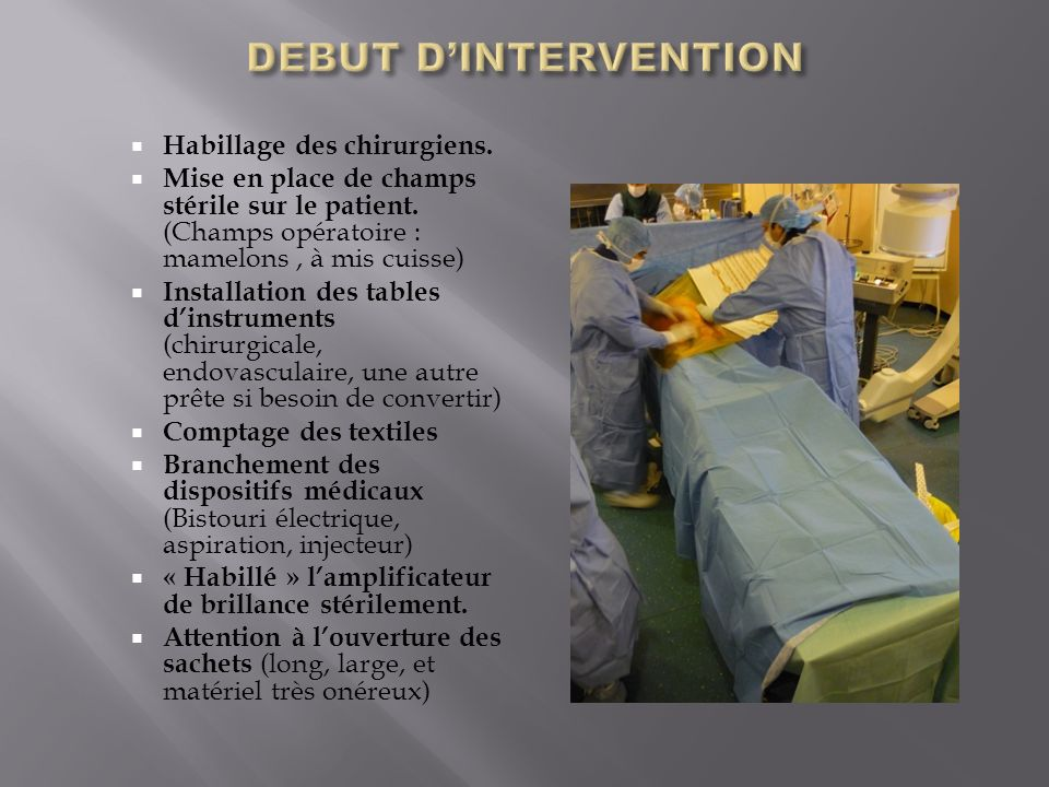 DEBUT D'INTERVENTION Habillage des chirurgiens.