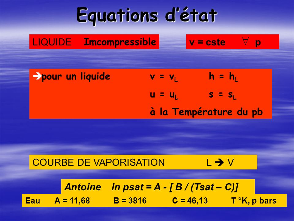 Equations d'état LIQUIDE Imcompressible v = cste p