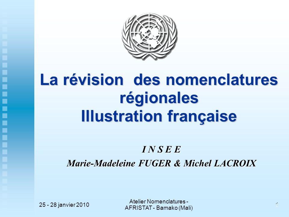 La révision des nomenclatures régionales Illustration française