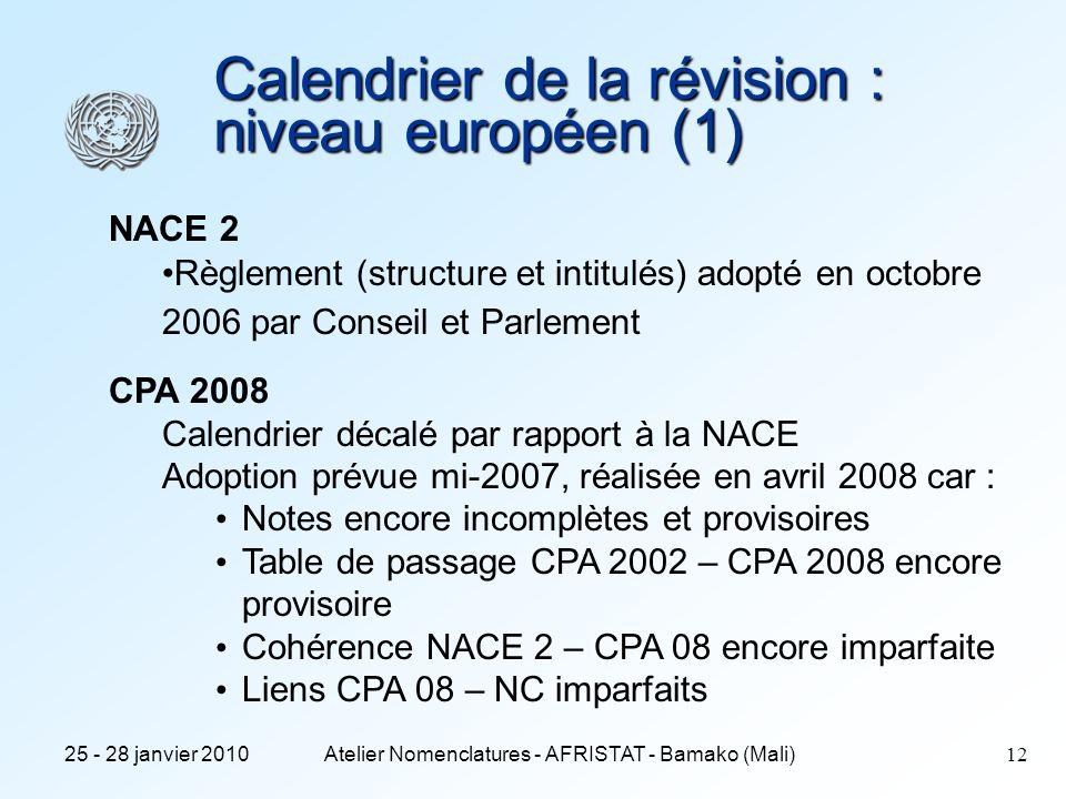 Calendrier de la révision : niveau européen (1)