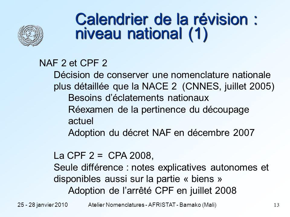 Calendrier de la révision : niveau national (1)
