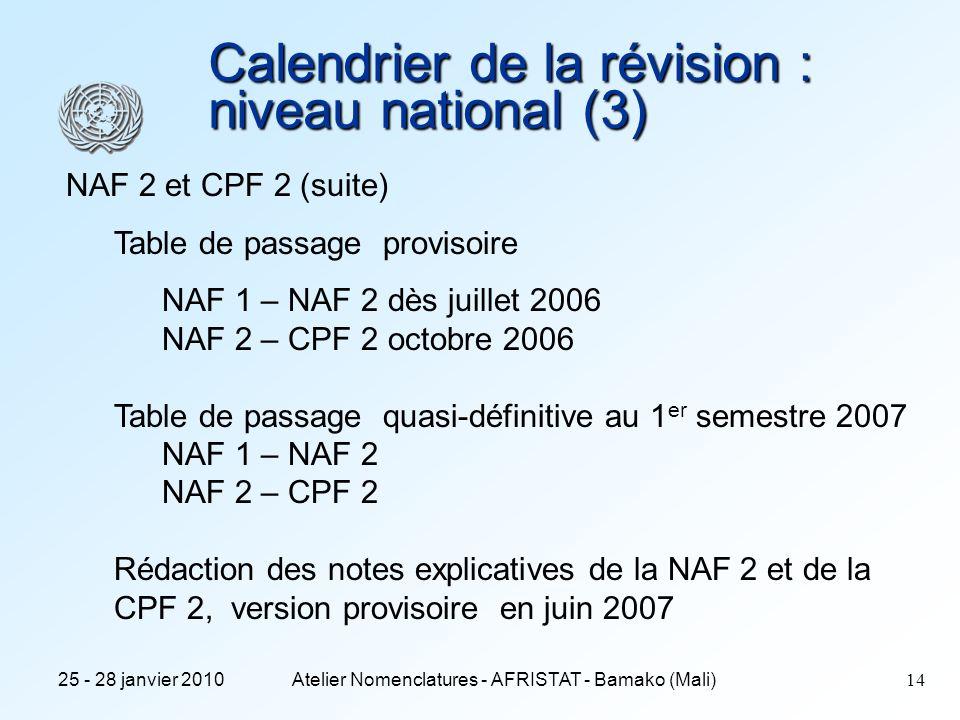 Calendrier de la révision : niveau national (3)