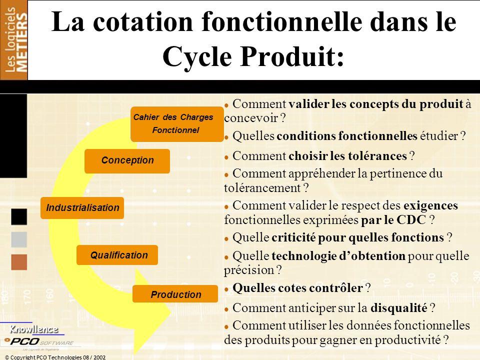 La cotation fonctionnelle dans le Cycle Produit: