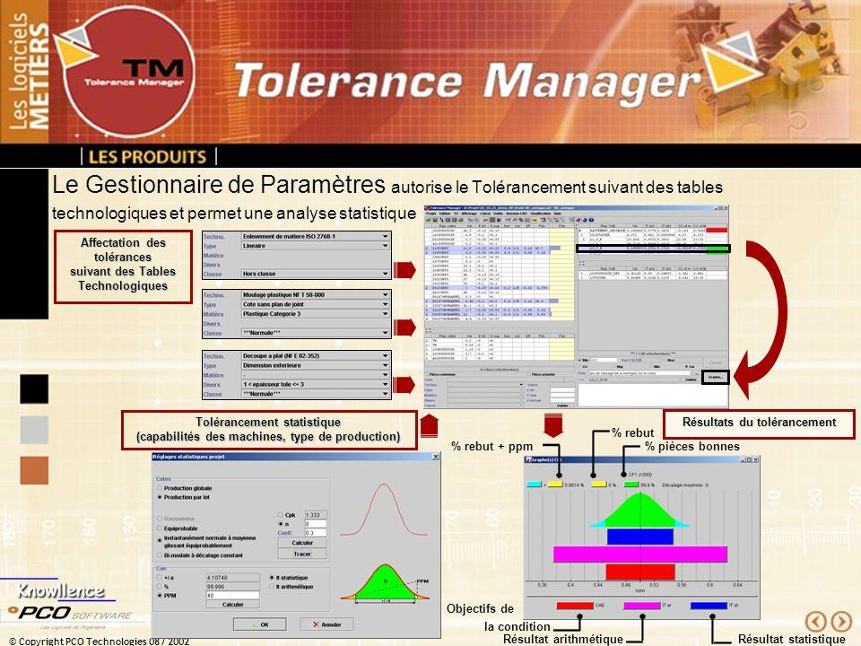 Le Gestionnaire de Paramètres autorise le Tolérancement suivant des tables